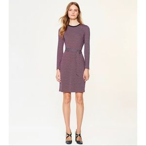 Tory Burch Silk Musee Dress Red Blue Small